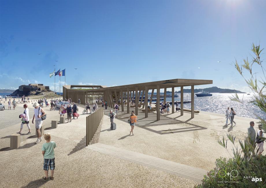 La future gare maritime privilégie le bois dans une architecture légère permettant de redécouvrir le paysage.