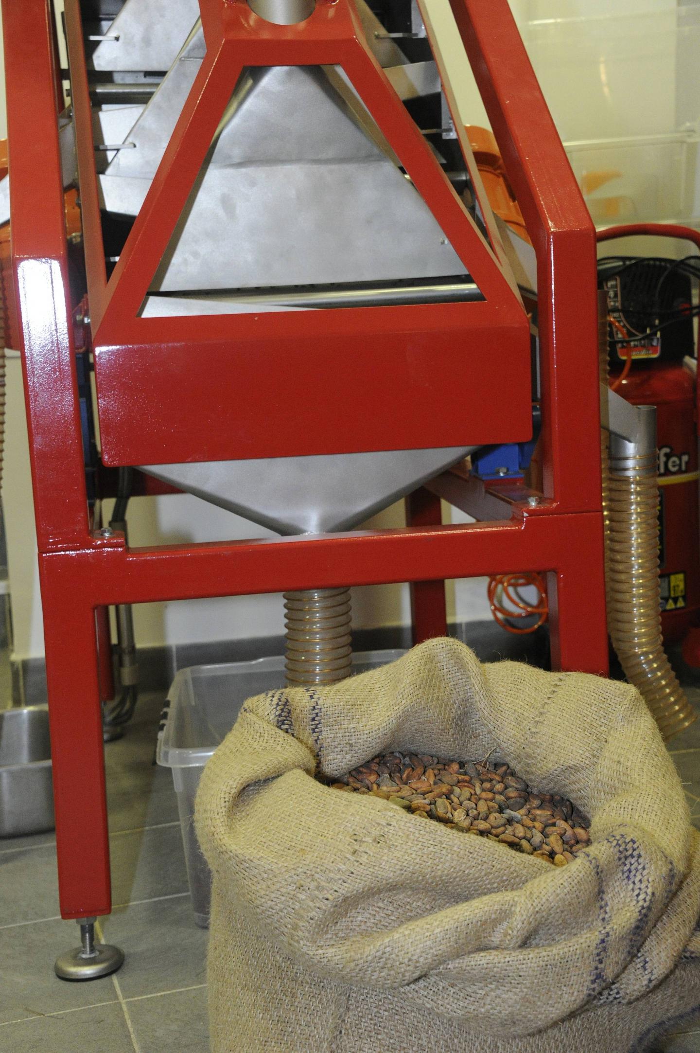 Les fèves arrivent de sierra Léone, Madagascar, Ganha, Pérou, Bali, etc. par sacs de 80 kg.