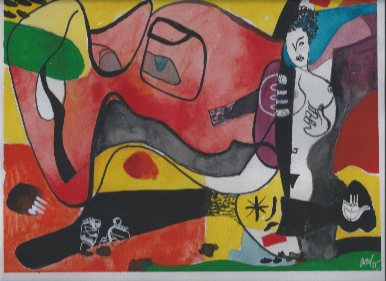 Derrière ce fauteuil de Chandigarh, les organisateurs de l'expo : Géraldine Bianco, antiquaire niçoise spécialiste du mobilier contemporain ; Dominique Trapp, designer cagnois et Guillaume André, viceprésident du SACA (Syndicat des architectes de la Côte d'Azur). À droite, une peinture signée J.-J. Lutz.