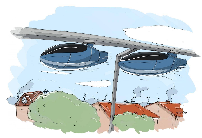 Son vrai nom: le skyTran. Il a été développé par la société californienne éponyme, avec la collaboration de la Nasa. Des villes comme Bordeaux ou Toulouse ou Tel-Aviv ont étudié ce projet. Mais pour l'heure, rien de concret encore...