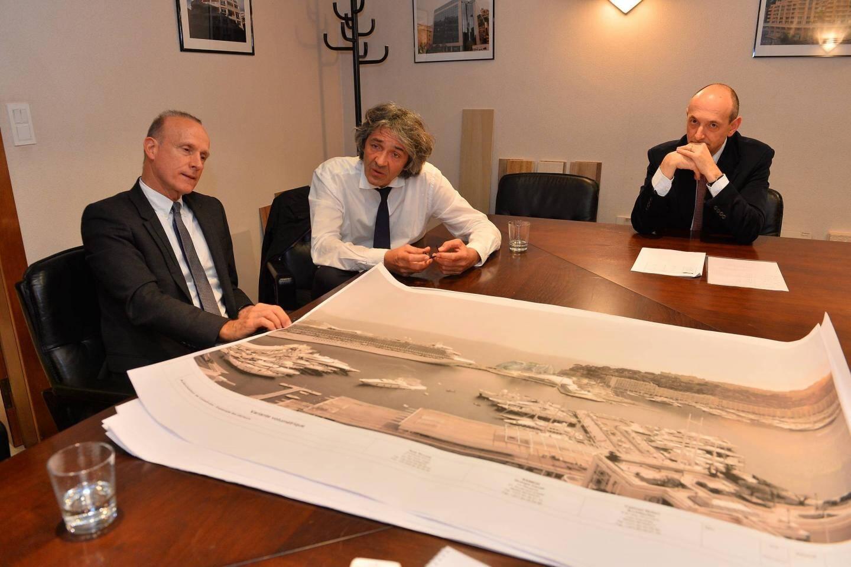 Franck Goddio, président de l'Institut européen d'archéologie sous-marine, Rudy Ricciotti, architecte, et Roberto Testa, directeur de Samegi (groupe Caroli) : l'équipe d'un vaste projet immobilier sur le port Hercule.