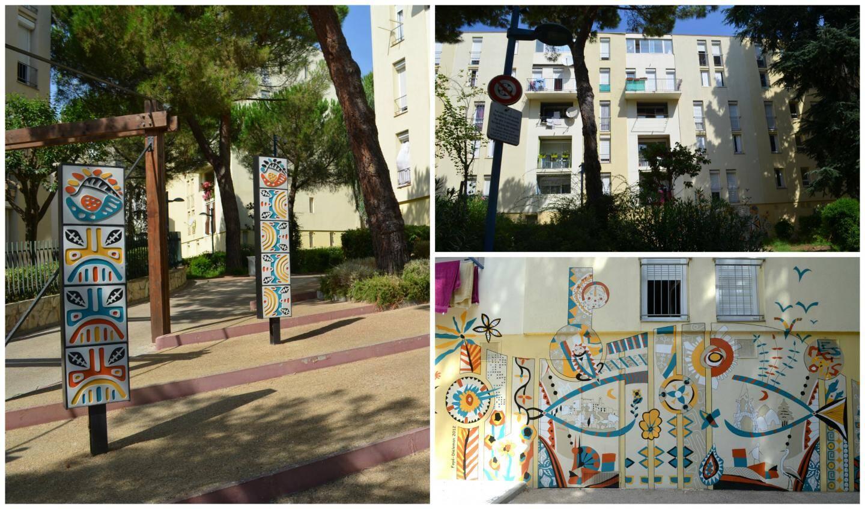 Totems et fresques murales aux Magnolias, réalisés par Elizabeth Foyé et Pascale Dieleman, avec les habitants du quartier de Carros.