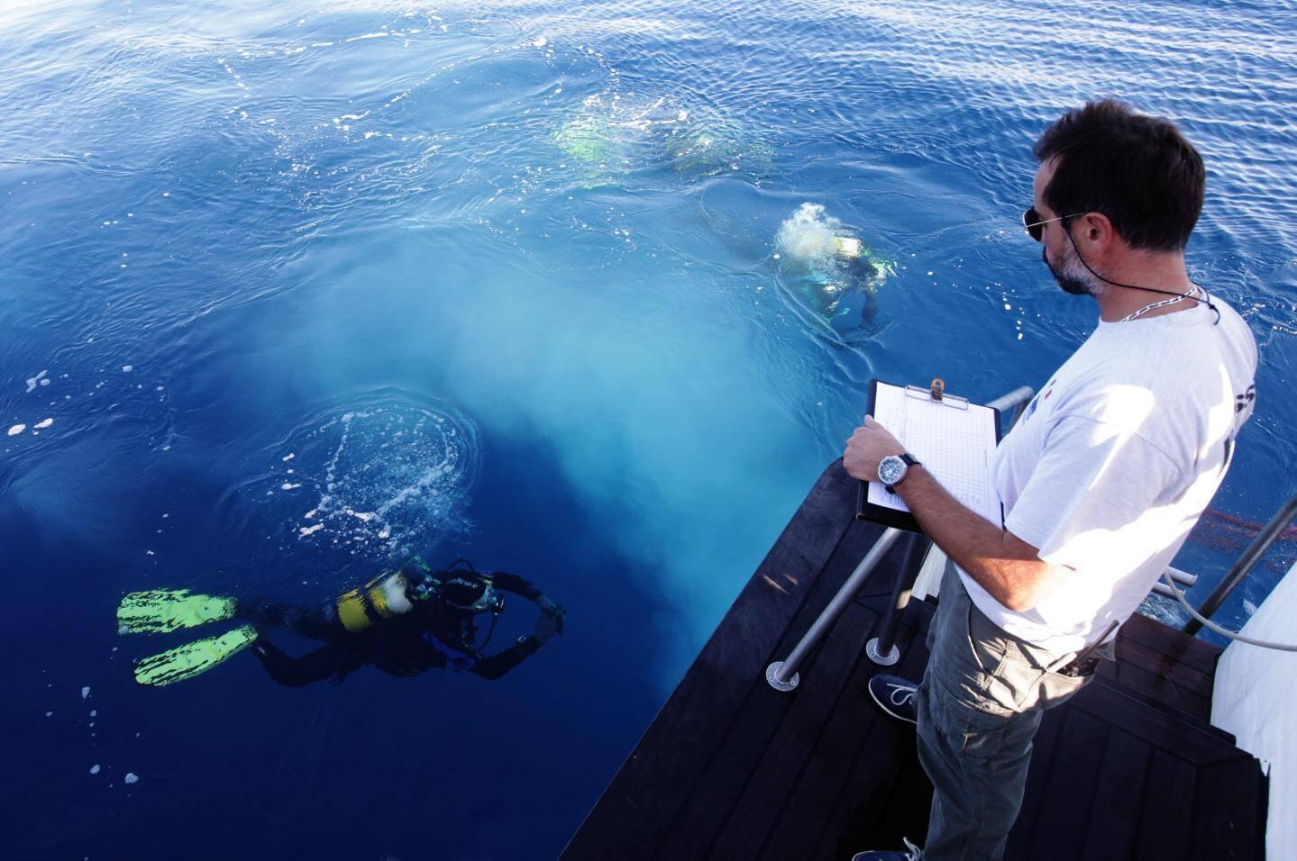 Sébastien Legrand, contrôleur de sécurité hyperbare, a veillé en permanence sur les plongeurs.  fouille archeo sous marine