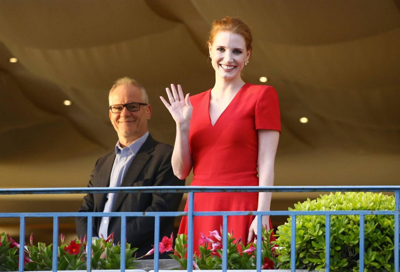 L'actrice américaine Jessica Chastain et Thierry Fremaux à l'hôtel Martinez de Cannes pour le diner du Jury avant l'ouverture du 70e festival international du film de Cannes.