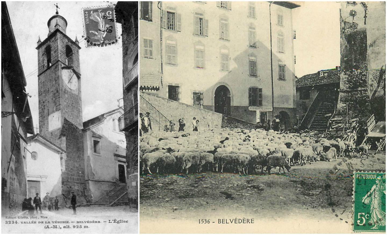 L'église de Belvédère et l'arrivée des moutons après l'alpage.