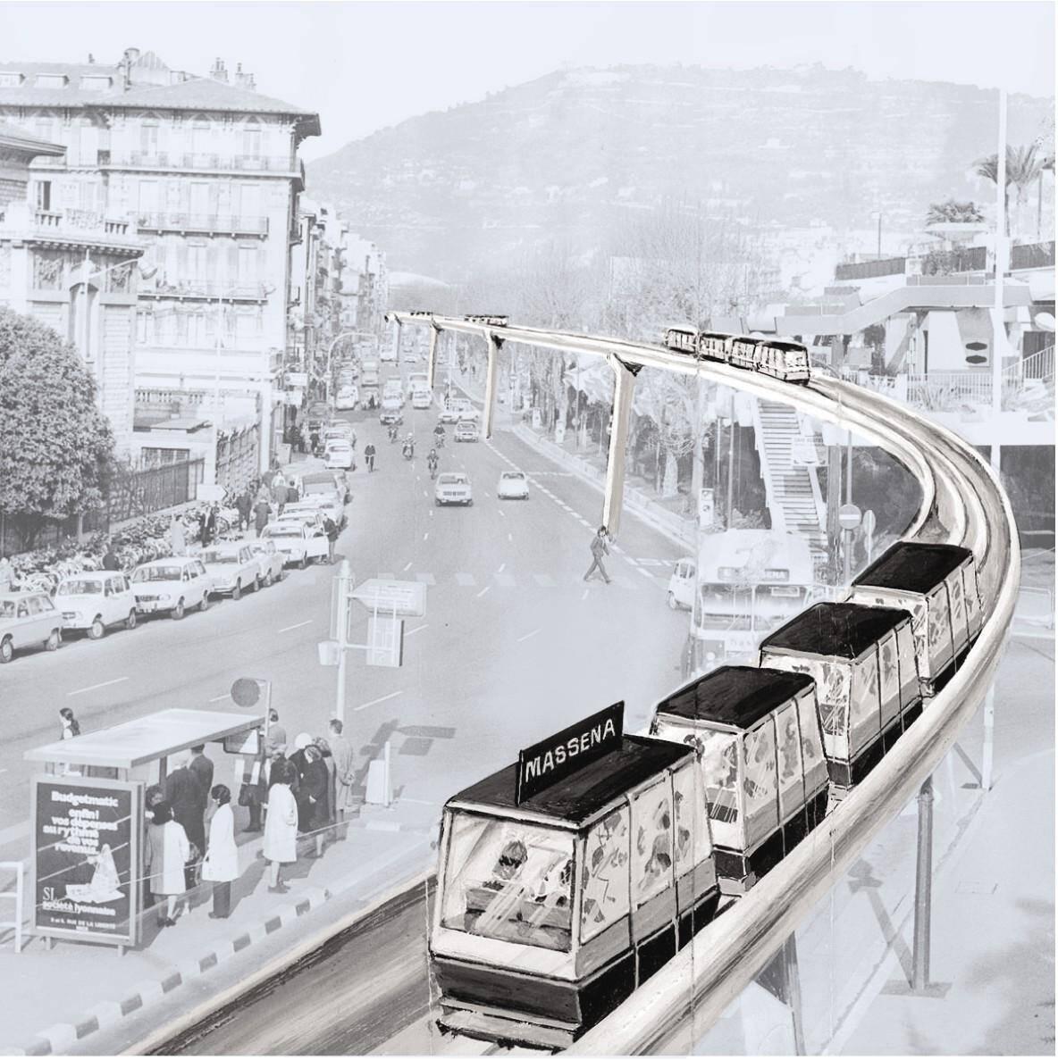 """""""Aramis"""", le métro aérien envisagé dans les années 1970."""