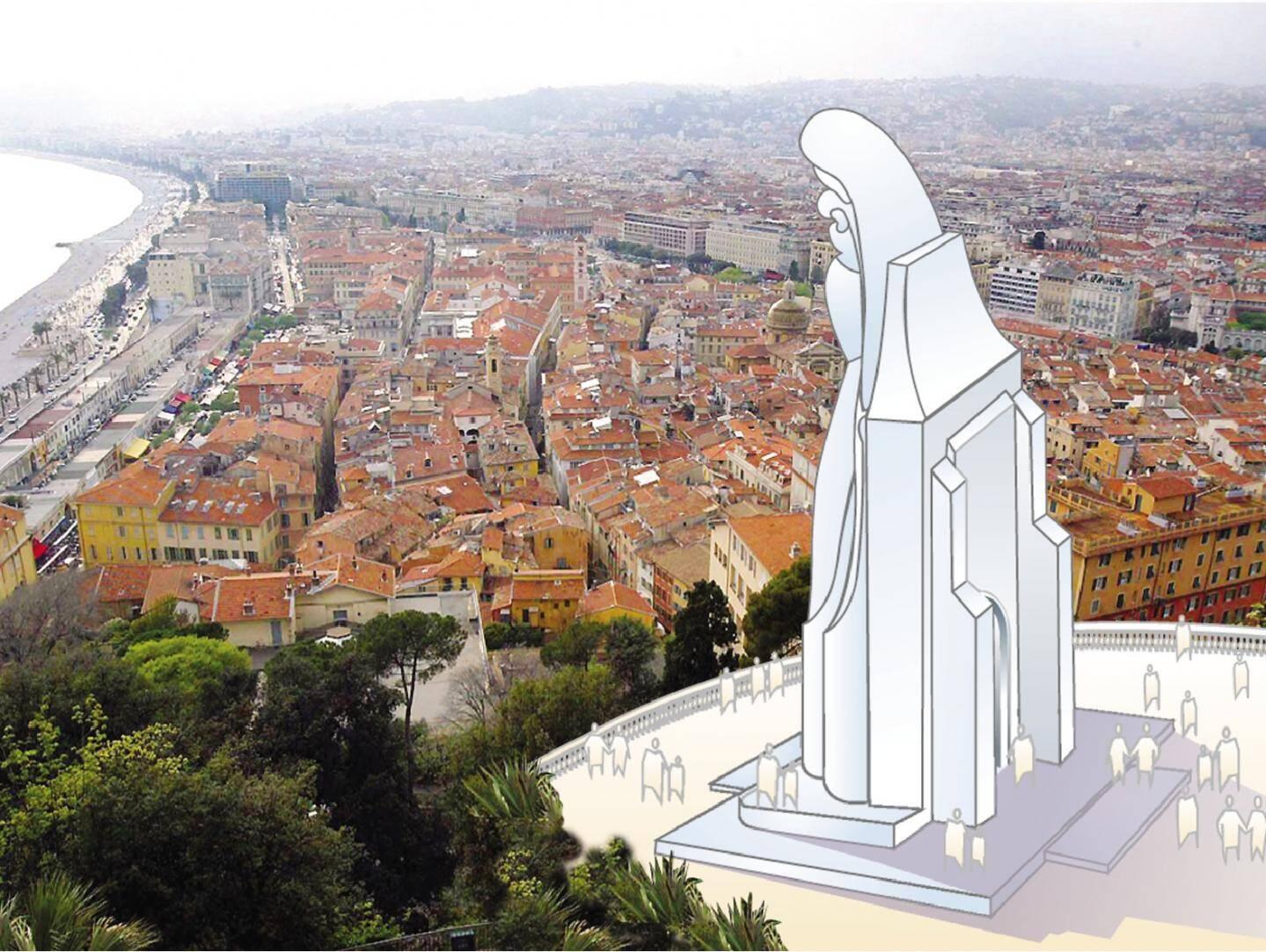 La statue de la Vierge aurait pu dominer la Baie des Anges.