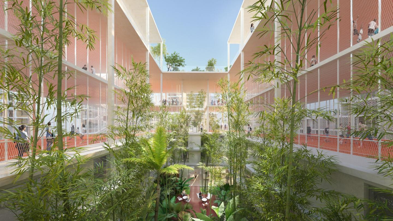 Le patio, espace vert pour les riverains.