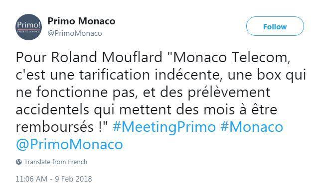 Le compte twitter de Primo! affiche encore cette attaque envers l'opérateur télécom de la Principauté.