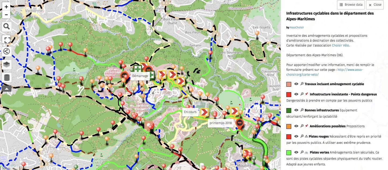 """La carte de l'association """"Choisir le vélo"""" est participative, tout le monde peut y contribuer"""