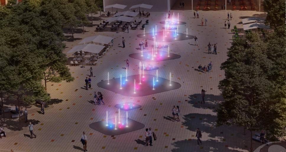 La place Paul-Roubaud illuminera de nouvelles fontaines. Un vrai jeu de lumières.