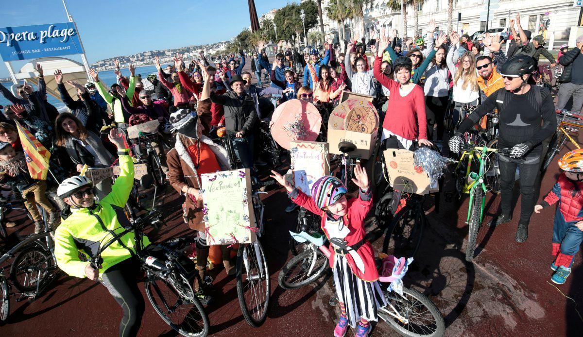 """La première """"vélo parade"""" à Nice avait attiré une centaine de personne en janvier dernier"""