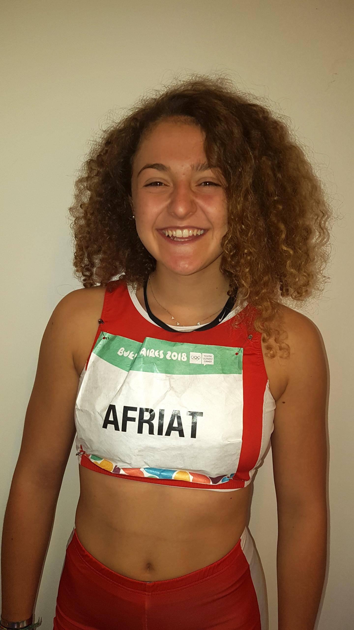 La sprinteuse Charlotte Afriat (athlétisme), tout sourire après sa série du 100 m et une 25e place provisoire.