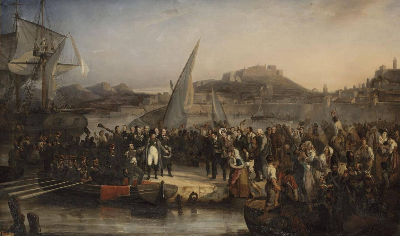 Le départ de Napoléon de l'île d'Elbe. Il est salué par la population de Portoferraio