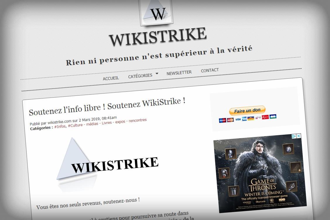 """""""Vous êtes nos seuls revenus!"""" clame Wikistrike dans un appel aux dons... à côté d'un gros encart publicitaire."""
