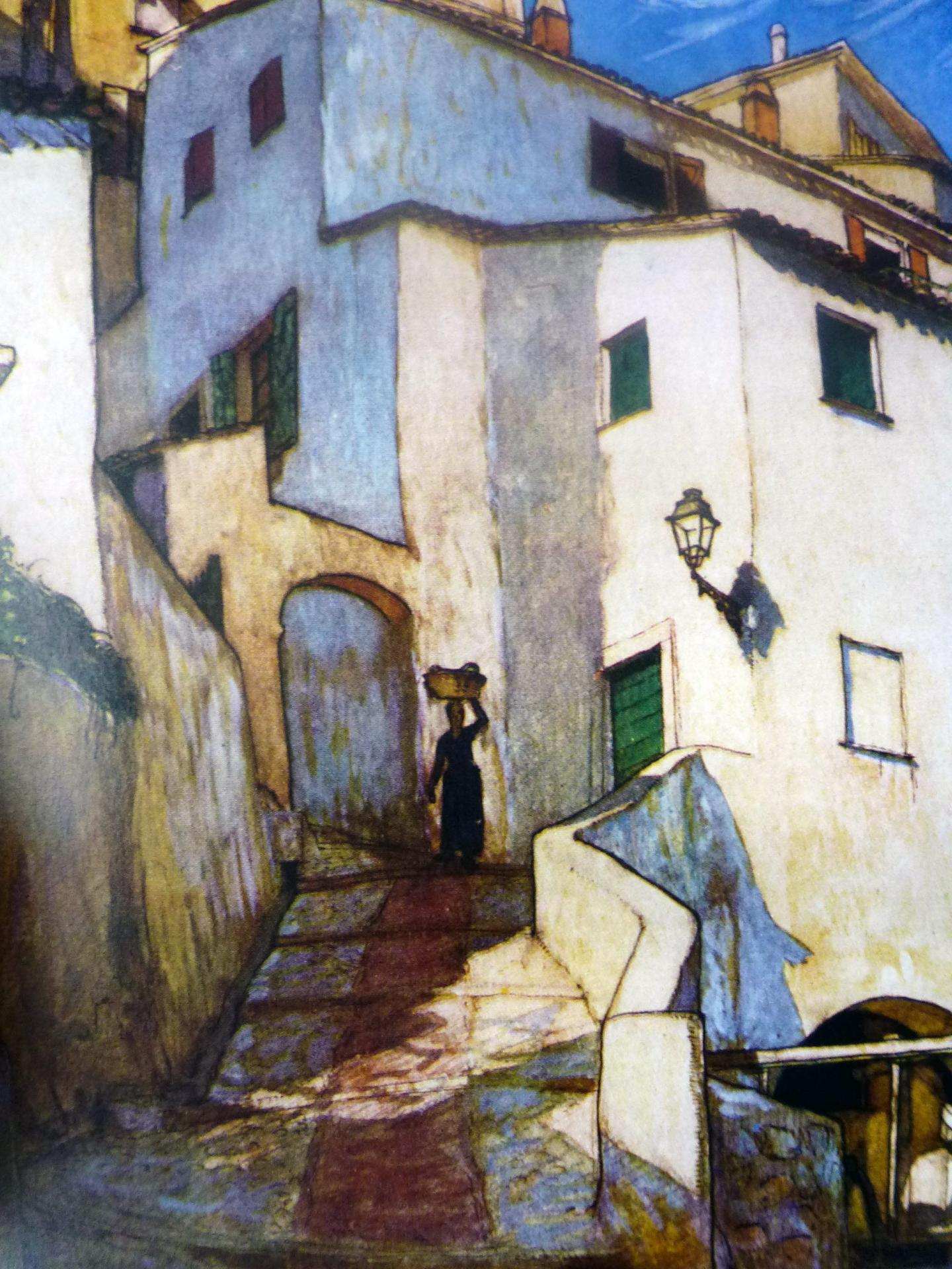 Le moulin de la Marra en contrebas de l'actuelle place des Moulins, par le peintre Charles Maresco Pearce.