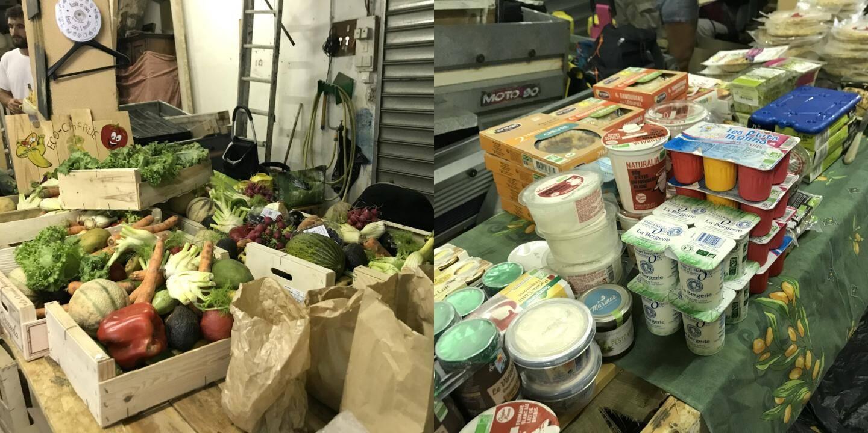 Sur les 193 kilos récoltés, des fruits et légumes et des produits frais : quiches, yaourts, fromages, viande et même tarama bio.