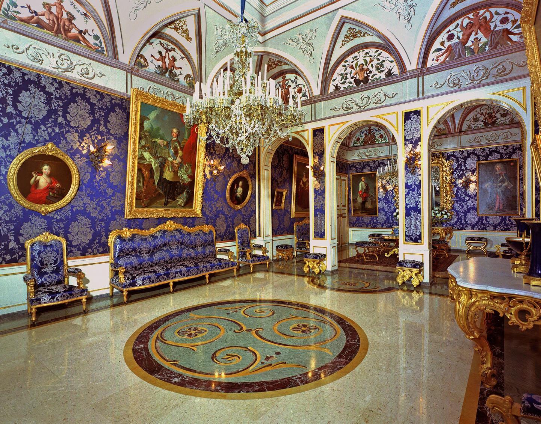 Le Salon Bleu, utilisé lors des réunions officielles.