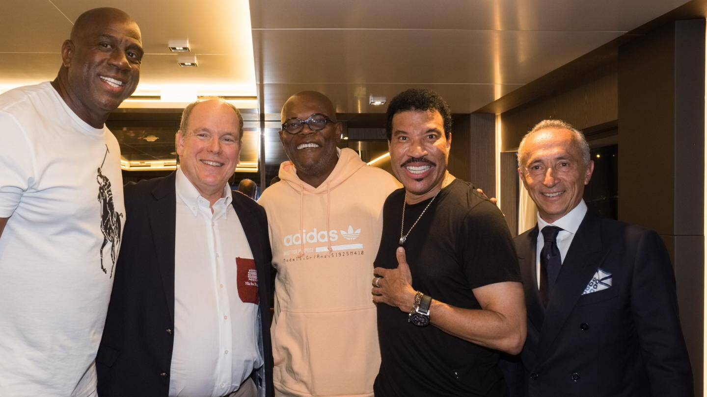 Magic Johnson, le prince Albert II, Samuel L. Jackson, Lionel Richie et Alberto Galassi.