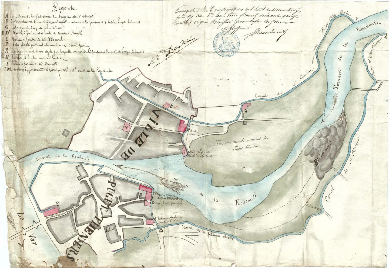 Carte de Puget-Théniers en 1865.