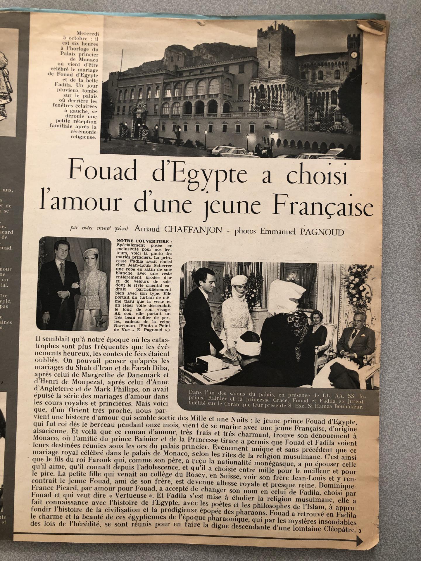 En 1977, le magazine Point de vue consacre un article de plusieurs pages au mariage de Fouad Farouk au Palais princier.