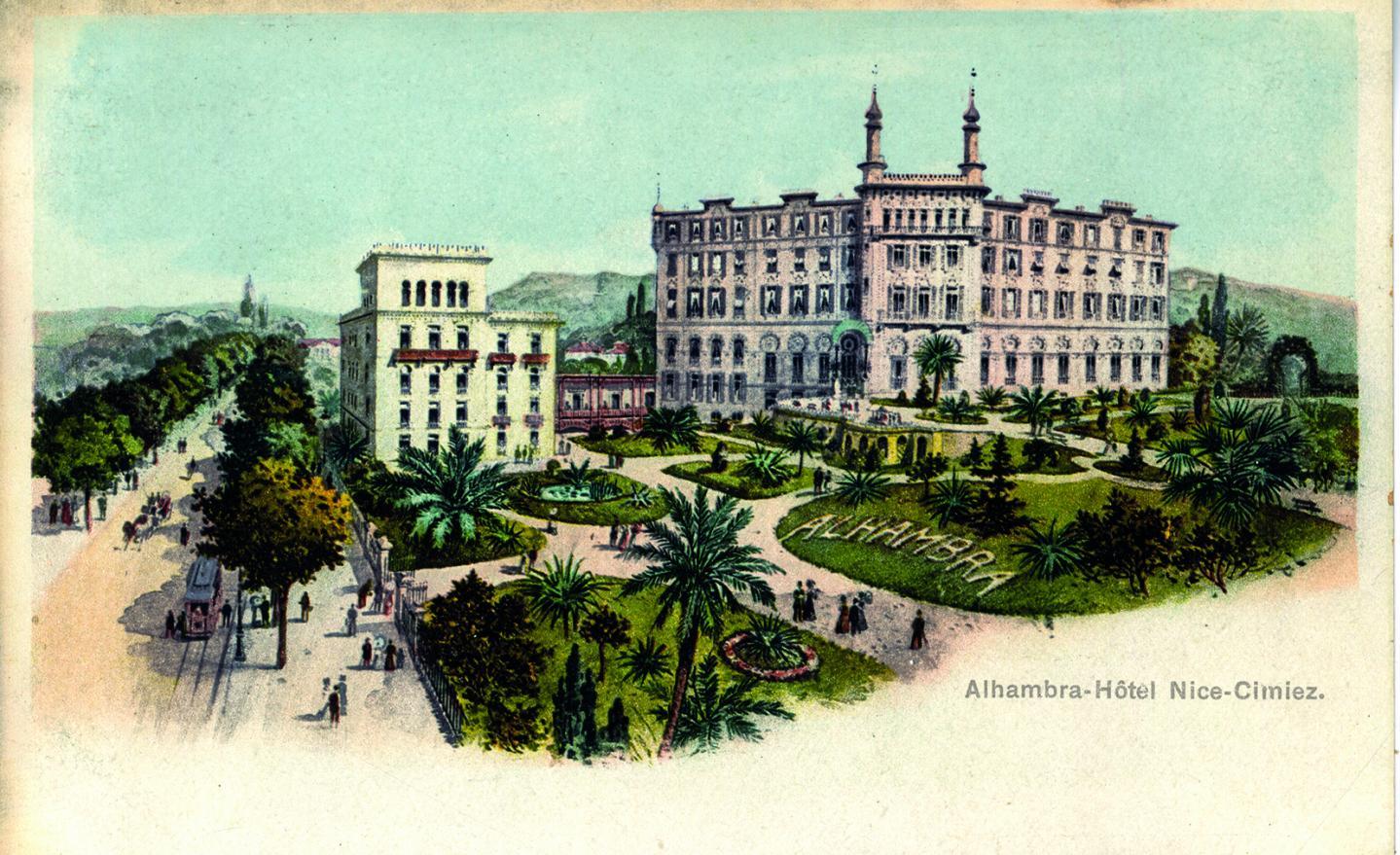 La façade sud de l'Hôtel Alhambra.