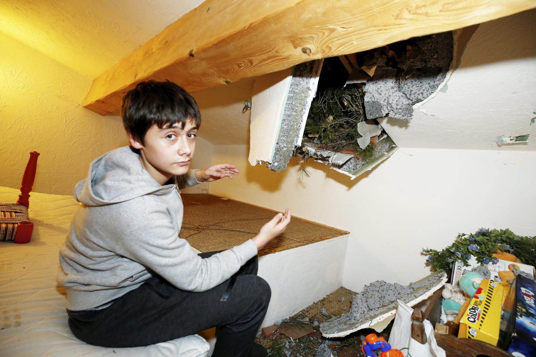 Dans cette maison à Tourrettes-sur-Loup, des branches ont percé le plafond.