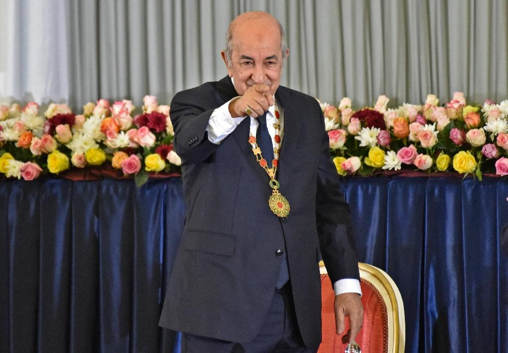 Le président algérien nouvellement élu Abdelmadjid Tebboune lors de son investiture à Alger, le 19 décembre 2019