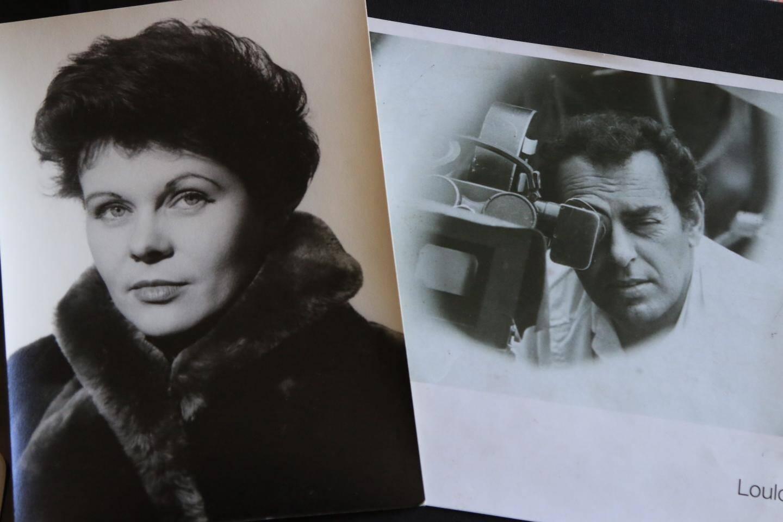 Au-dessus, des photos de Paule Pastier et son époux Georges, en plein tournage.