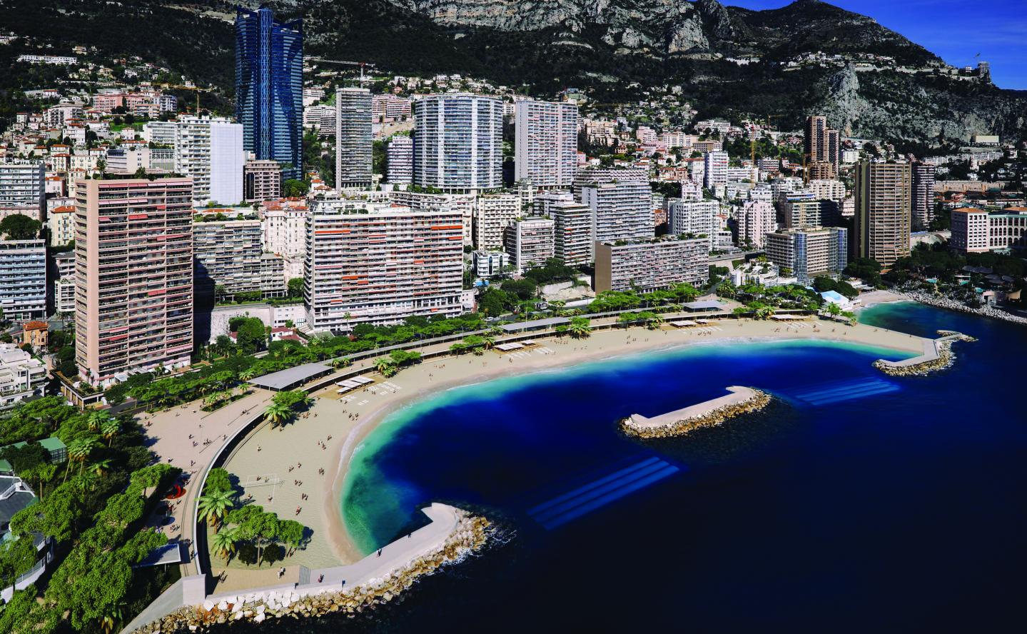 Le littoral du Larvotto, tel qu'il devrait être à la fin des travaux.
