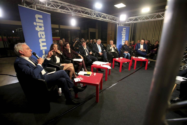 Les huit candidats, lundi soir, dans les locaux de Nice-Matin.
