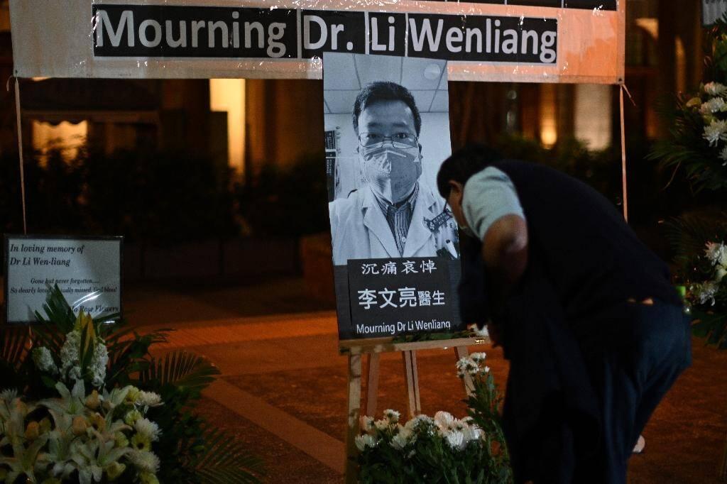 Hommage au docteur Li Wenliang à Hong Kong, le 7 février 2020.