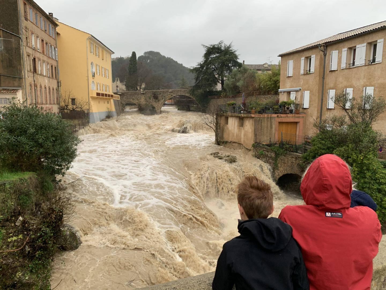 La Nartuby en crue lors des inondations de novembre 2019.
