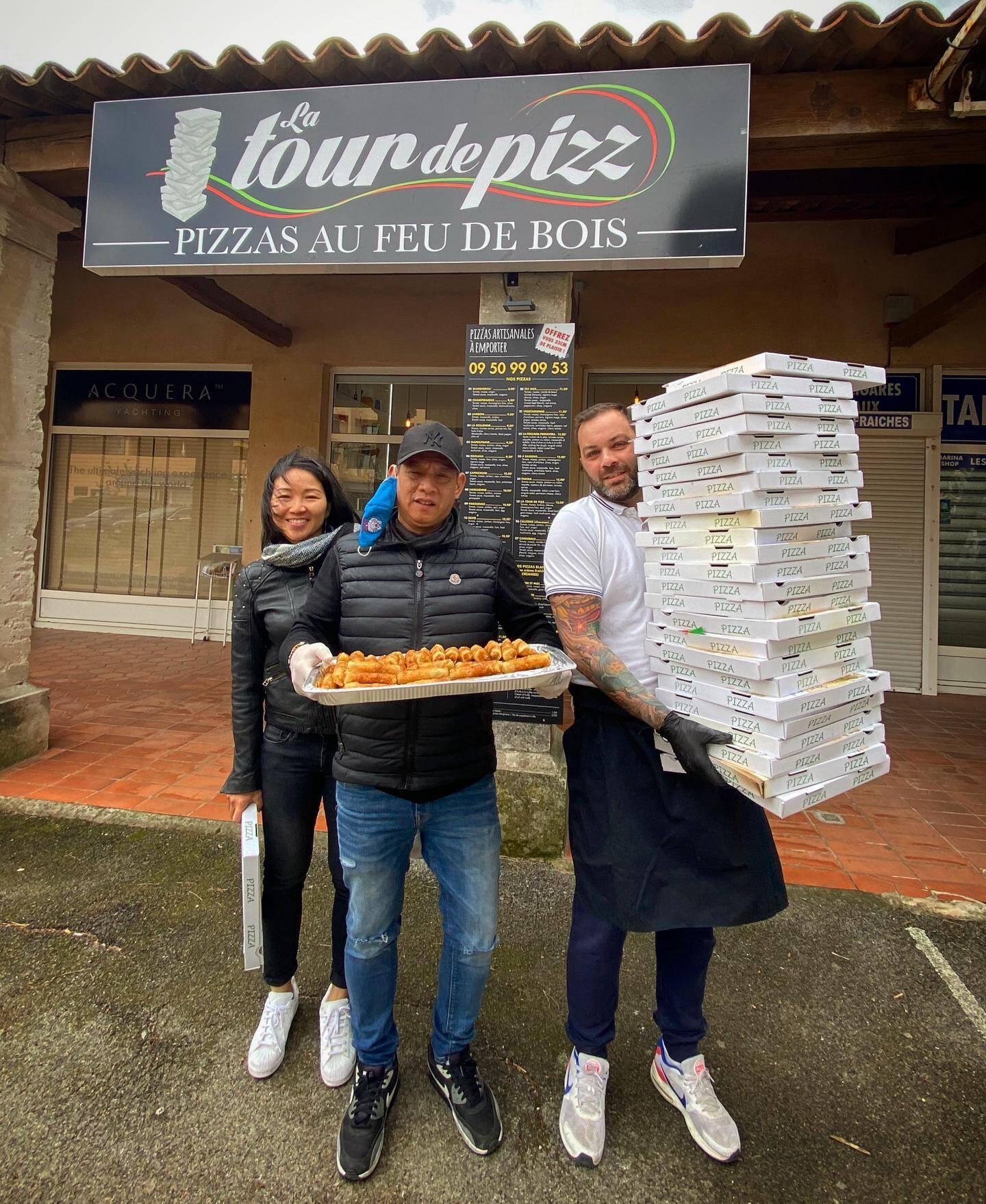Maï Ca, Fred Versini et Ulrich Eloy ont livré nems et pizzas pour le personnel.