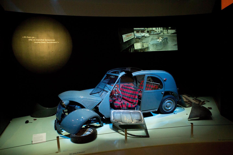 La voiture accidentée du film Le Corniaud. Conduite par Bourvil, percutée par de Funès.