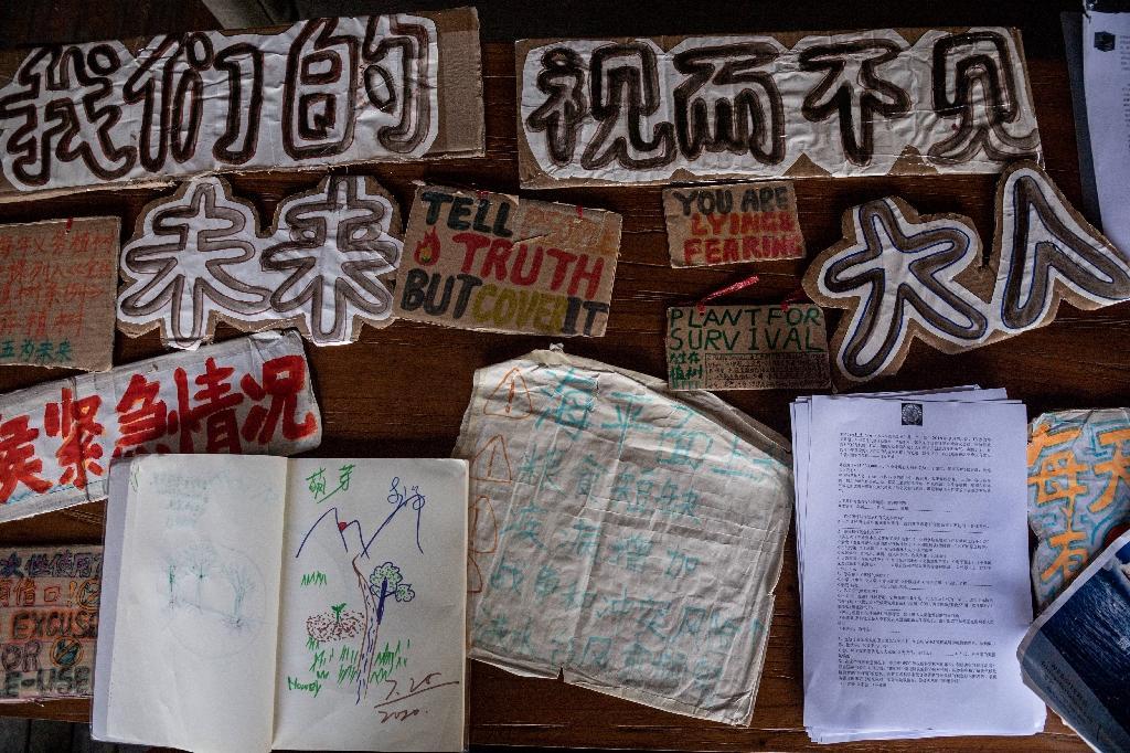 Textes et pancartes rédigés par la jeune militante écologique chinoise Howey Ou, à Guilin (Chine) le 7 août 2020