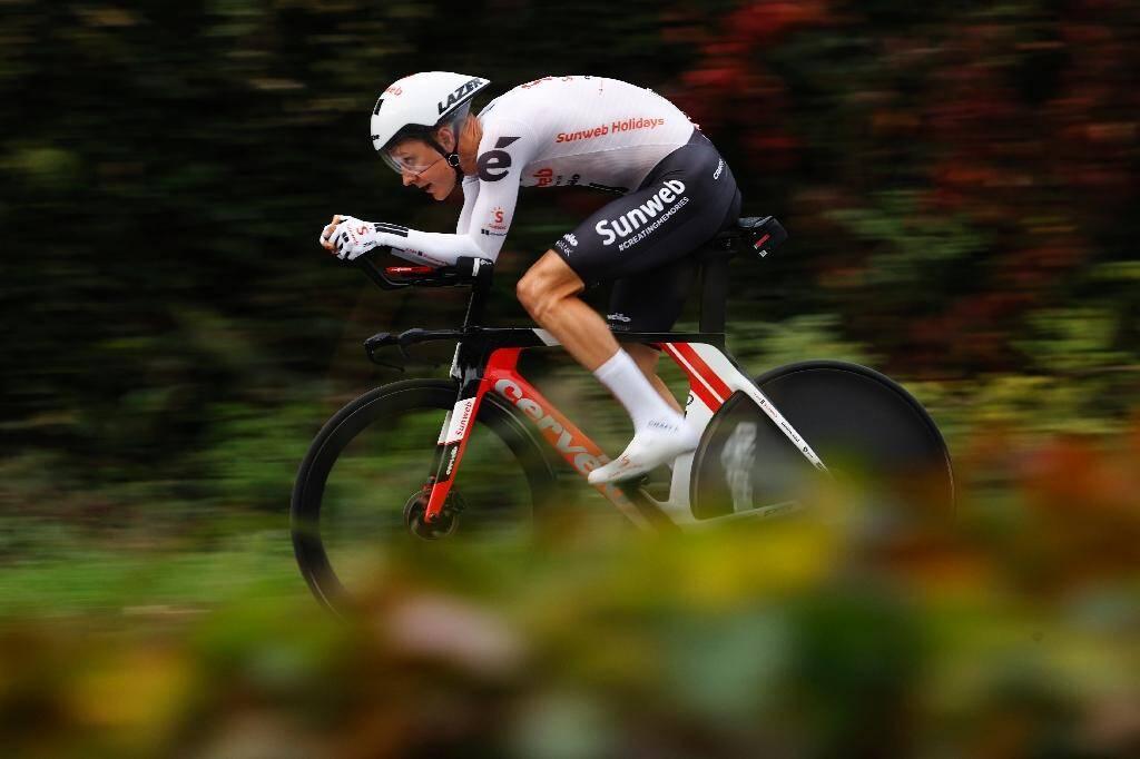 Le Néerlandais Wilco Kelderman (Sunweb) lors de la dernière étape du Tour d'Italie entre Cernusco sul Naviglio et Milan, le 25 octobre 2020