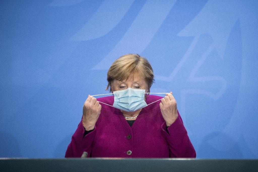La chancelière allemande Angela Merkel lors d'une conférence de presse à Berlin, le 14 octobre 2020