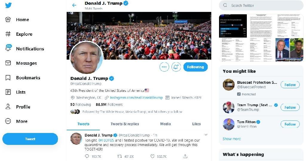 Capture d'écran de la page Twitter du président américain Donald Trump, avec le tweet annonçant qu'il a été testé positif au coronavirus, le 2 octobre 2020