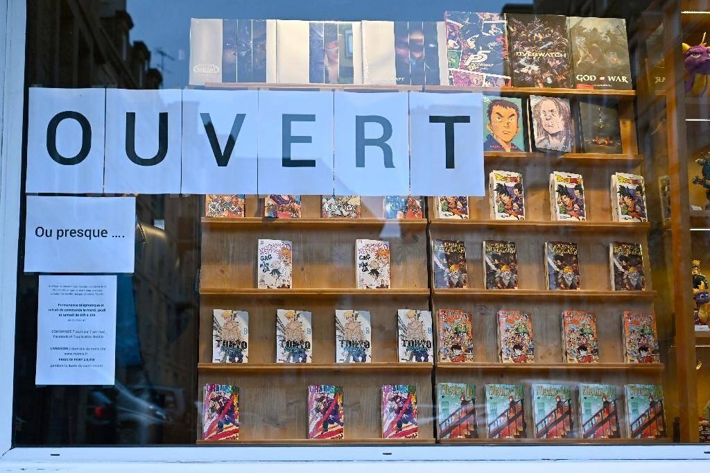 Une librairie fermée à Saint-Malo le 16 novembre 2020