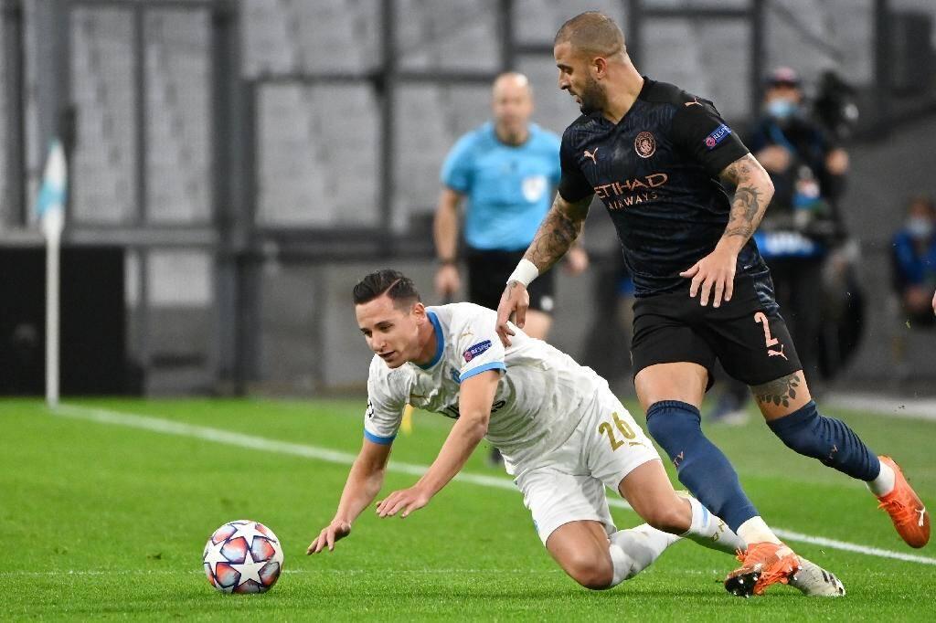 L'attaquant de l'OM Florian Thauvin contre Manchester City, le 27 octobre 2020 au Stade vélodrome
