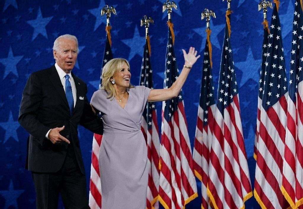 Joe et Jill Biden au dernier jour de la convention démocrate, le 20 août 2020 à Wilmington, dans le Delaware
