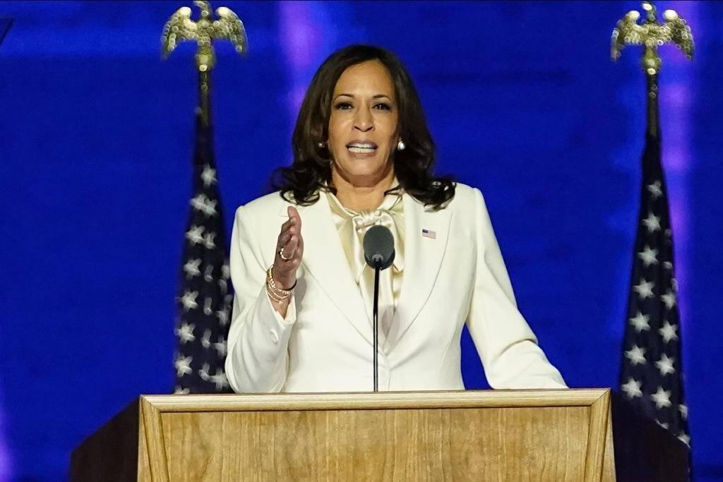 Kamala Harris fait un discours à Wilmington, au Delaware, le 7 novembre 2020 après la proclamation de la victoire de Joe Bide, dont elle sera la vide-présidente