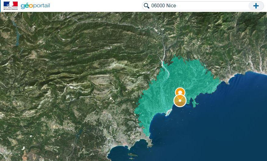 La zone des 20km, calculée par la route depuis le centre de Nice avec la nouvelle carte proposée par Géoportail, site gouvernemental.