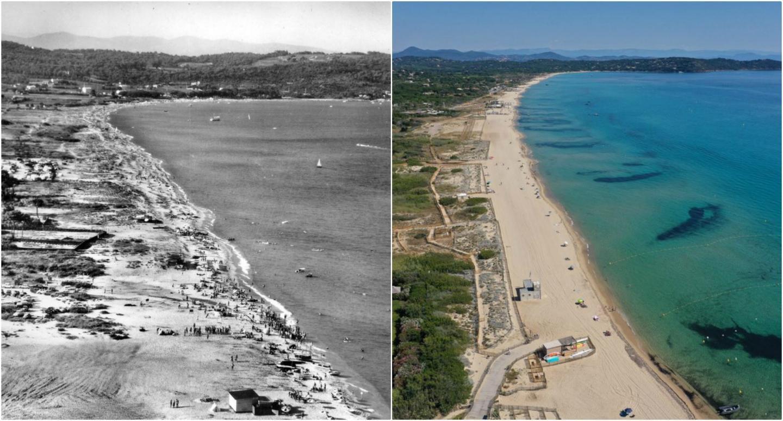 À gauche, la plage dans les années 50 et, à droite, aujourd'hui. Le cordon dunaire a disparu.