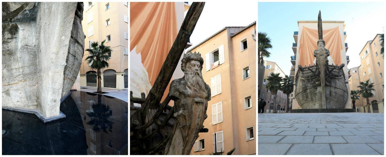 Edifié en 1995 sous la municipalité Trucy, le bateau-sculpture est réalisé en béton sculpté, avec sa voile peinte en trompe l'œil sur un immeuble.