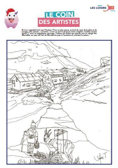 L'artiste Sylvie T. offre un tendre dessin du haut pays azuréen à colorier.
