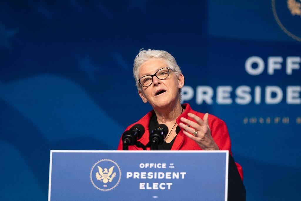 Gina McCarthy, choisie par le président Joe Biden, pour diriger le nouveau Bureau de la politique sur le climat de la Maison Blanche, le 19 décembre 2020 à Wilmington, dans le Delaware