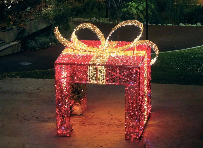 Le paquet cadeau géant installé au cœur du Jardin des Plantes en centre-ville.