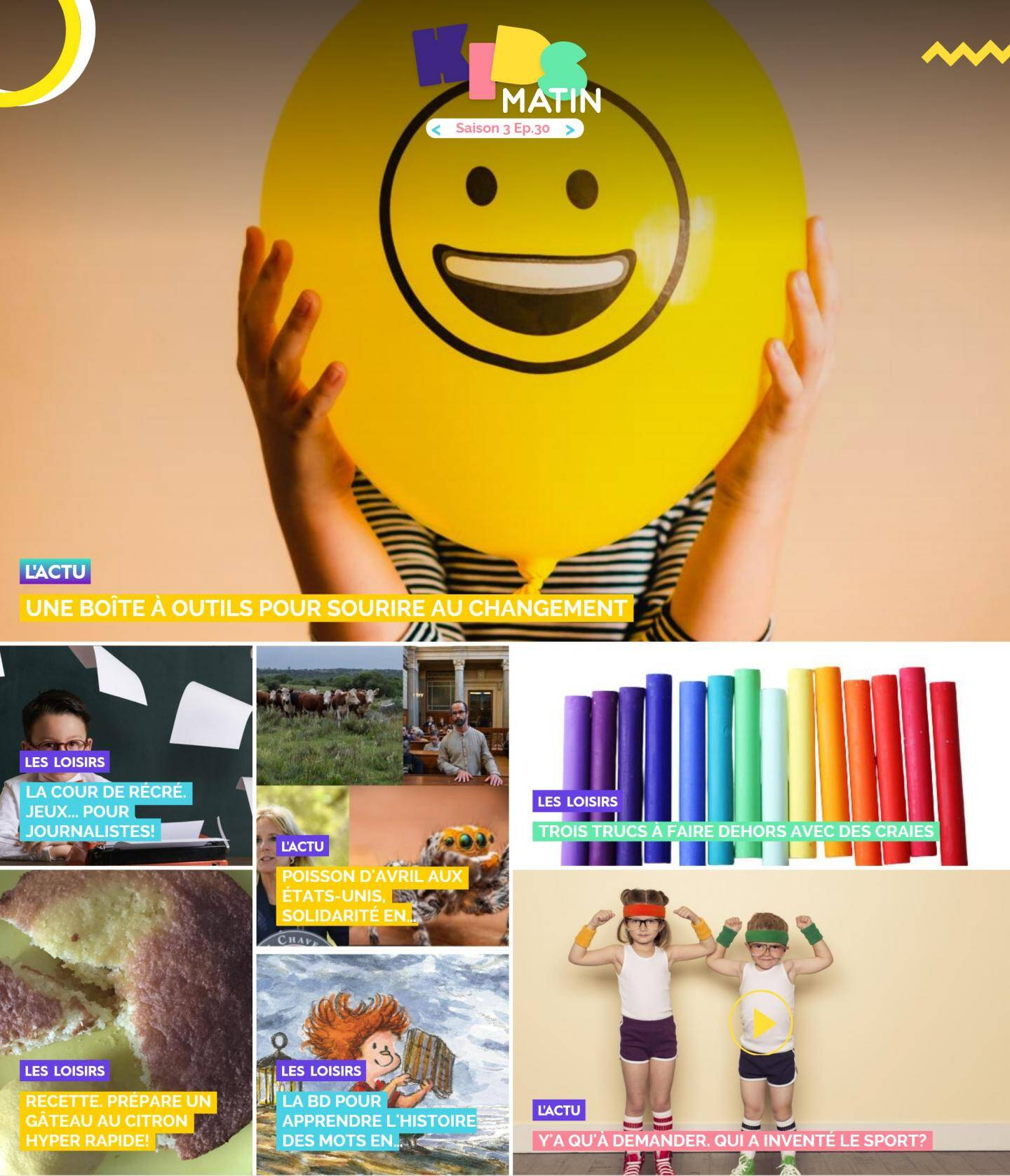 La homepage de kidsmatin.com ce mercredi 7 avril.